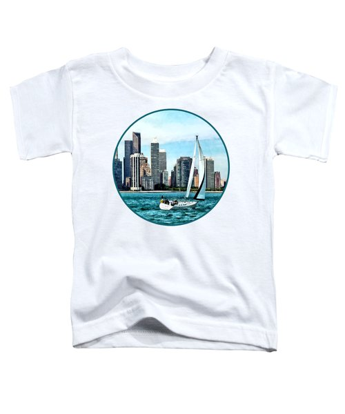 Chicago Il - Sailboat Against Chicago Skyline Toddler T-Shirt by Susan Savad