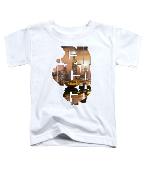 Chicago Illinois Typography - Chicago Skyline From The Rooftop Toddler T-Shirt by Gregory Ballos