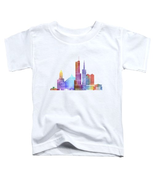 Chicago Landmarks Watercolor Poster Toddler T-Shirt by Pablo Romero