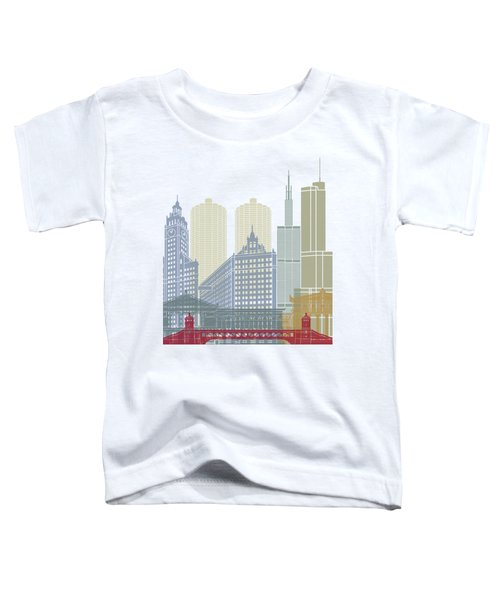 Chicago Skyline Poster Toddler T-Shirt by Pablo Romero