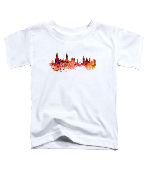 Chicago Watercolor Skyline Toddler T-Shirt by Marian Voicu