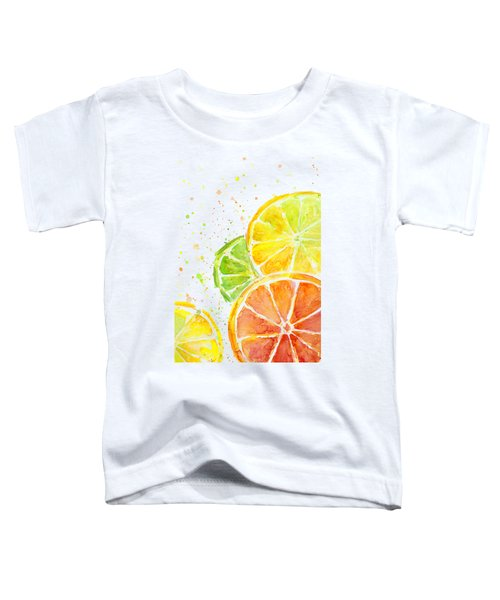 Citrus Fruit Watercolor Toddler T-Shirt by Olga Shvartsur