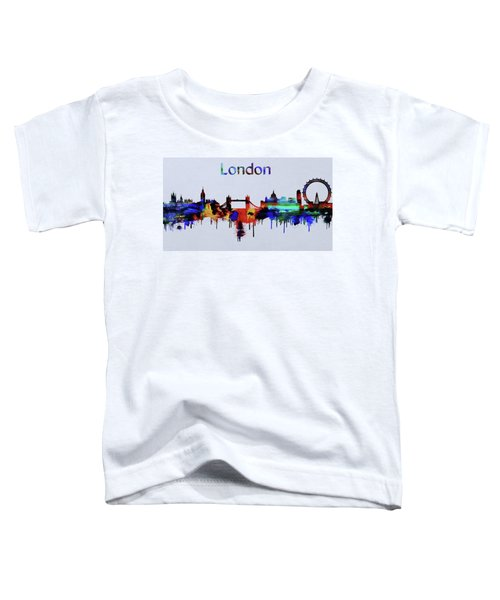 Colorful London Skyline Silhouette Toddler T-Shirt by Dan Sproul