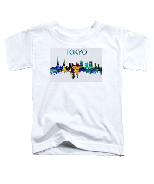 Colorful Tokyo Skyline Silhouette Toddler T-Shirt by Dan Sproul