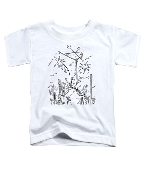 Coloring Page With Beautiful City Martini Drawing By Megan Duncanson Toddler T-Shirt by Megan Duncanson