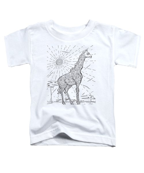 Coloring Page With Beautiful Giraffe Drawing By Megan Duncanson Toddler T-Shirt by Megan Duncanson