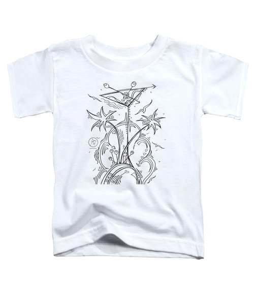 Coloring Page With Beautiful Tropical Martini Drawing By Megan Duncanson Toddler T-Shirt by Megan Duncanson