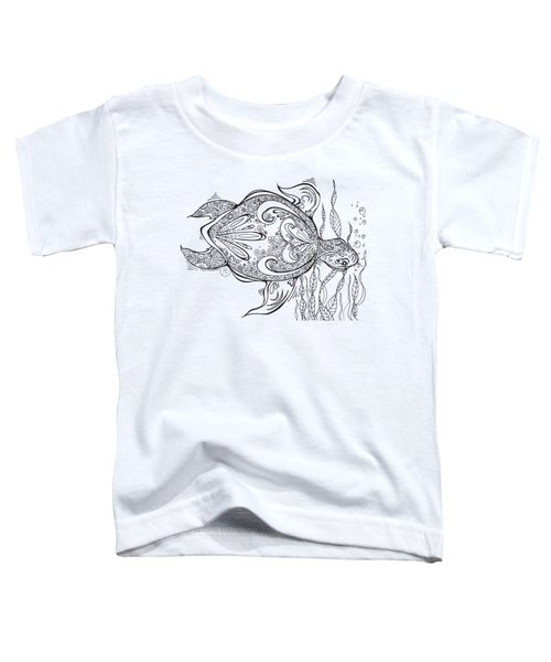 Coloring Page With Beautiful Turtle Drawing By Megan Duncanson Toddler T-Shirt by Megan Duncanson