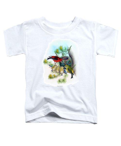 Common Crossbill Antique Bird Print John Gould Hc Richter Birds Of Great Britain  Toddler T-Shirt by Orchard Arts