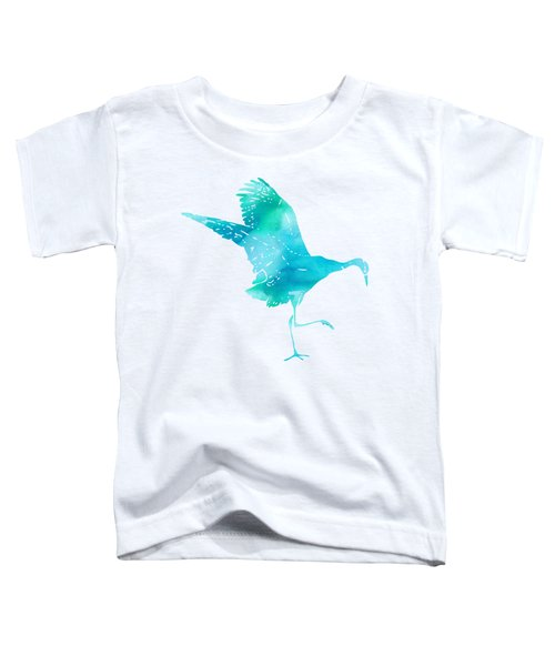 Crane Ready For Flight - Blue-green Watercolor Toddler T-Shirt by Custom Home Fashions