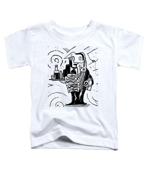 Cubist Waiter Toddler T-Shirt by Sotuland Art