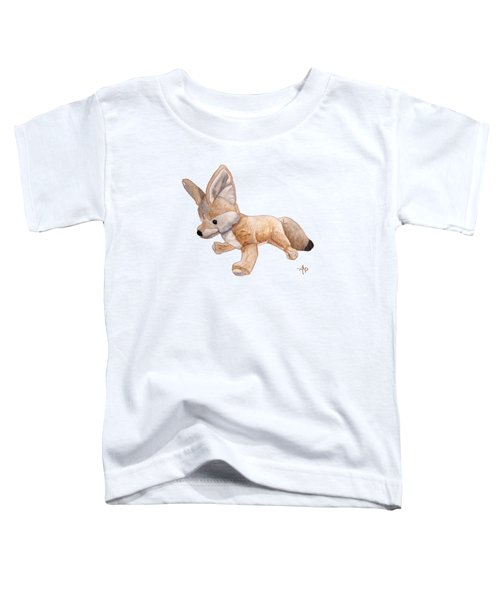 Cuddly Snow Fox Toddler T-Shirt by Angeles M Pomata