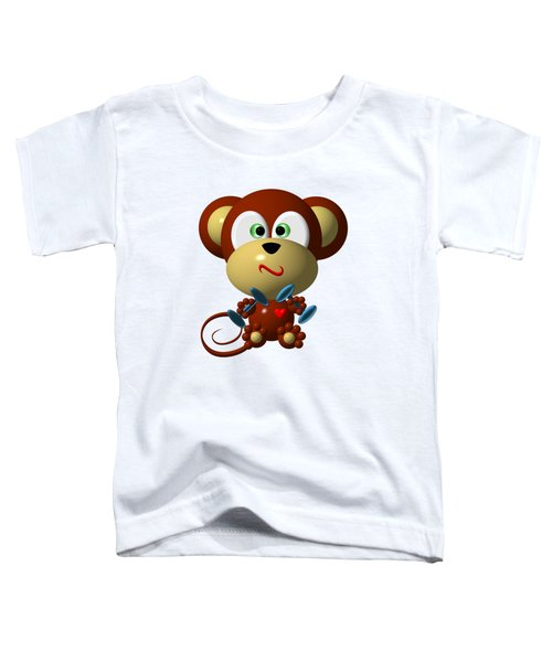 Cute Monkey Lifting Weights Toddler T-Shirt by Rose Santuci-Sofranko