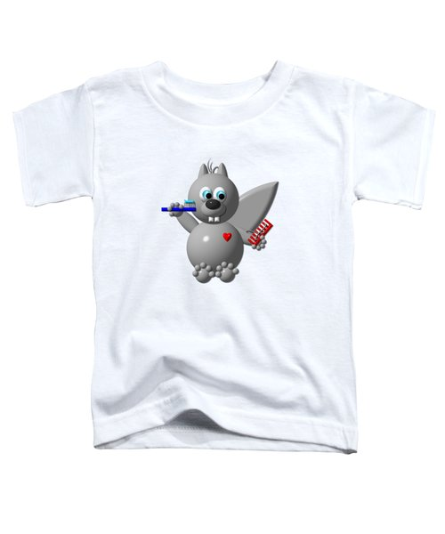Cute Squirrel Brushing It's Hair And Teeth Toddler T-Shirt by Rose Santuci-Sofranko