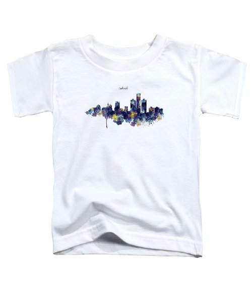 Detroit Skyline Silhouette Toddler T-Shirt by Marian Voicu