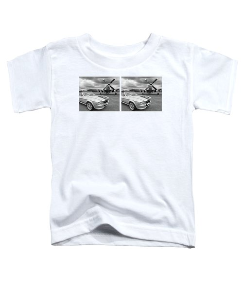 Eleanor Mustang With P51 Black And White Toddler T-Shirt by Gill Billington
