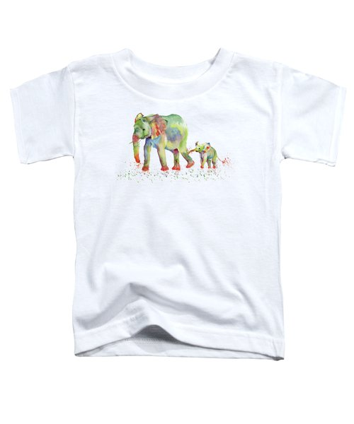 Elephant Family Watercolor  Toddler T-Shirt by Melly Terpening