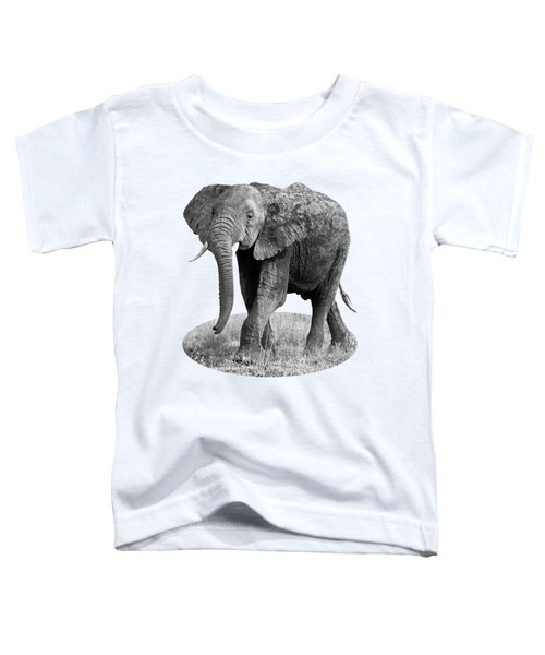 Elephant Happy And Free In Black And White Toddler T-Shirt by Gill Billington