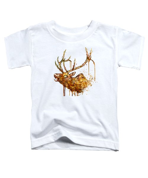 Elk In Watercolor Toddler T-Shirt by Marian Voicu