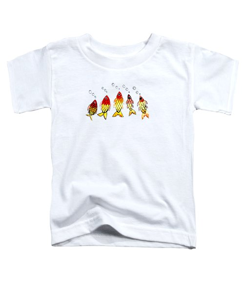 Five Bubble Fish Toddler T-Shirt by Candace Ho