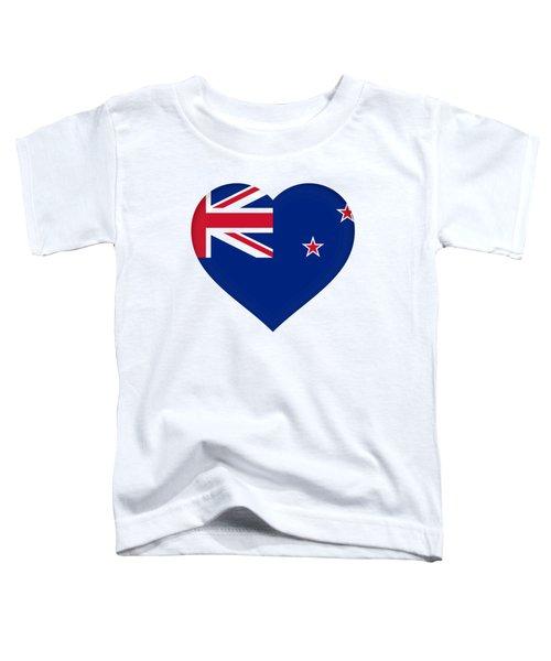 Flag Of New Zealand Heart Toddler T-Shirt by Roy Pedersen