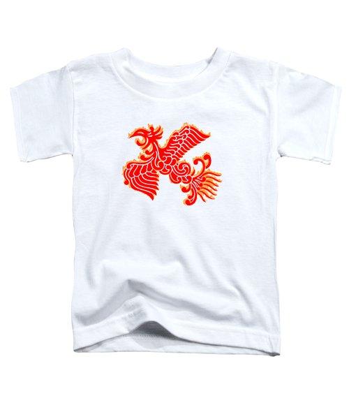 Flaming Red Phoenix Rising Toddler T-Shirt by Nathan Beardsley