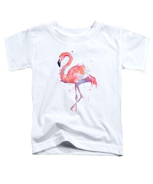 Flamingo Love Watercolor Toddler T-Shirt by Olga Shvartsur