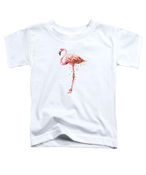 Flamingo Watercolor Painting Toddler T-Shirt by Marian Voicu