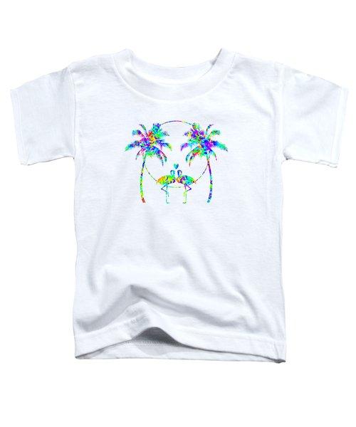 Flamingos In Love - Splatter Art Toddler T-Shirt by SharaLee Art