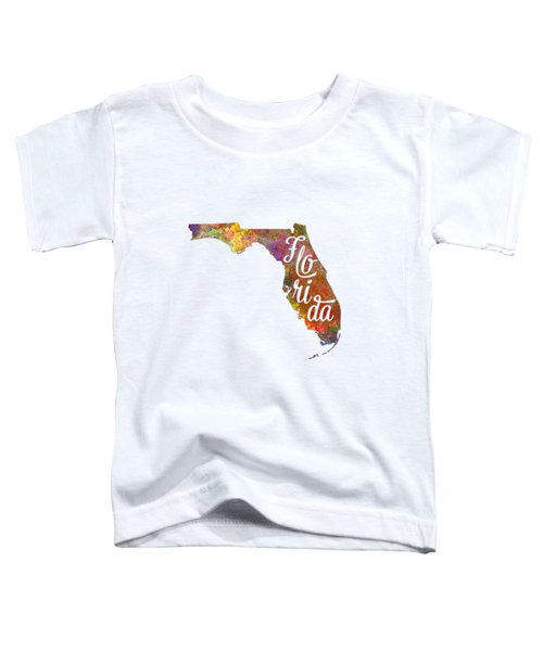 Florida Us State In Watercolor Text Cut Out Toddler T-Shirt by Pablo Romero