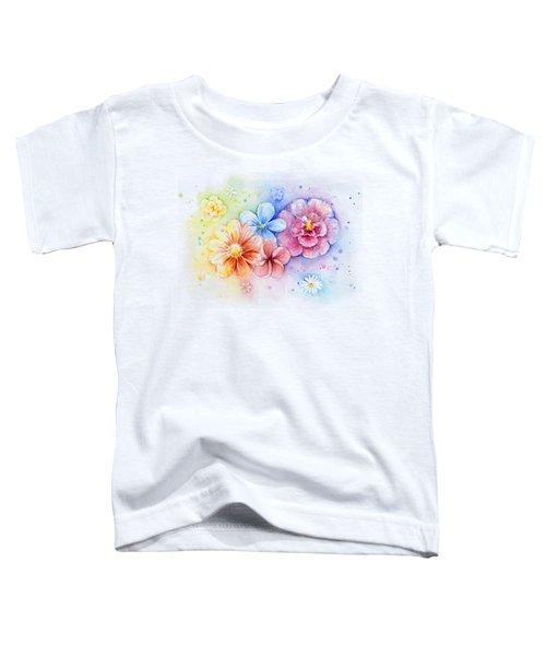 Flower Power Watercolor Toddler T-Shirt by Olga Shvartsur