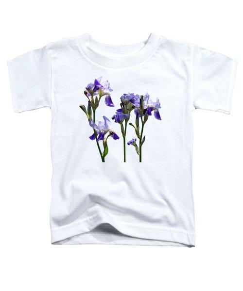 Group Of Purple Irises Toddler T-Shirt by Susan Savad