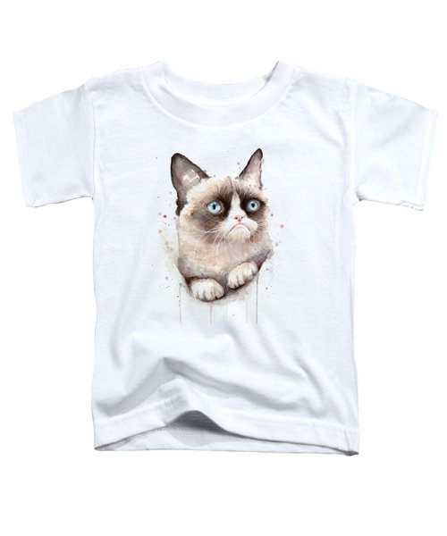Grumpy Cat Watercolor Toddler T-Shirt by Olga Shvartsur