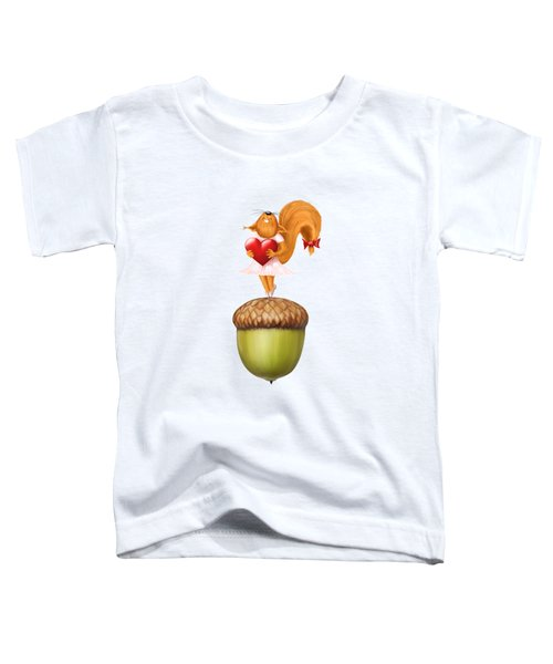 Happy Squirrel With Heart Standing On Acorn Illustration Toddler T-Shirt by Awen Fine Art Prints