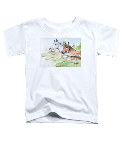 Horses Watercolor Sketch Toddler T-Shirt by Olga Shvartsur