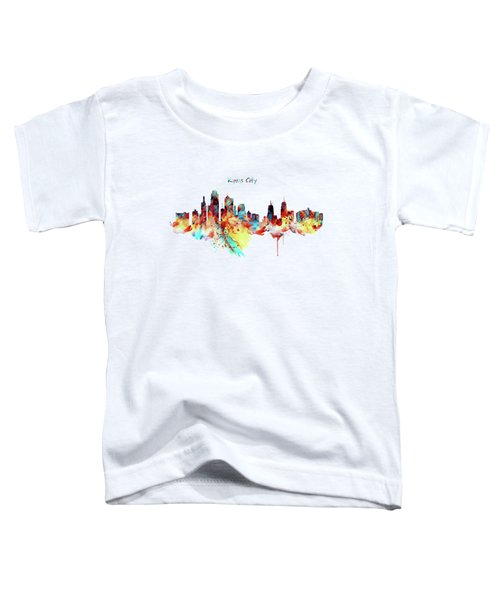 Kansas City Skyline Silhouette Toddler T-Shirt by Marian Voicu