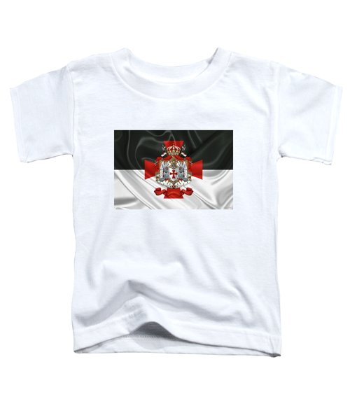 Knights Templar - Coat Of Arms Over Flag Toddler T-Shirt by Serge Averbukh