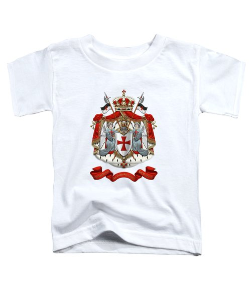 Knights Templar - Coat Of Arms Over White Leather Toddler T-Shirt by Serge Averbukh