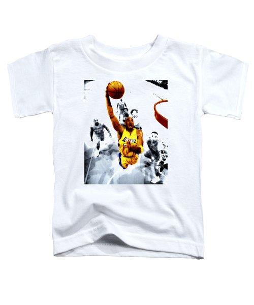 Kobe Bryant Took Flight Toddler T-Shirt by Brian Reaves