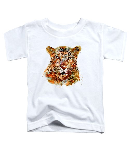 Leopard Head Watercolor Toddler T-Shirt by Marian Voicu