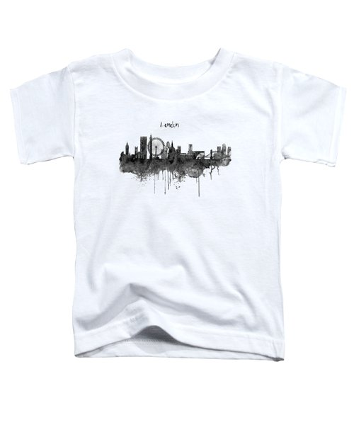 London Black And White Skyline Watercolor Toddler T-Shirt by Marian Voicu