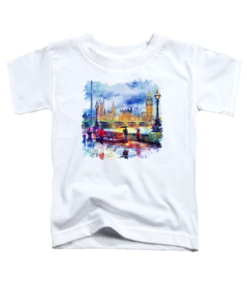 London Rain Watercolor Toddler T-Shirt by Marian Voicu