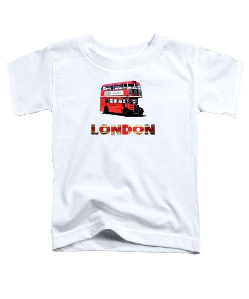 London Red Double Decker Bus Tee Toddler T-Shirt by Edward Fielding