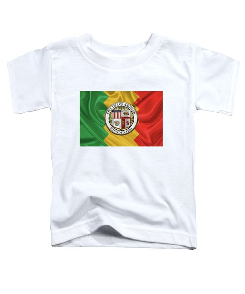 Los Angeles City Seal Over Flag Of L.a. Toddler T-Shirt by Serge Averbukh