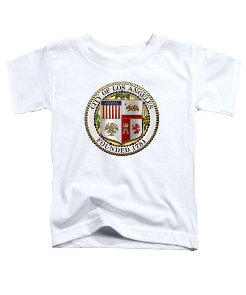 Los Angeles City Seal Over White Leather Toddler T-Shirt by Serge Averbukh