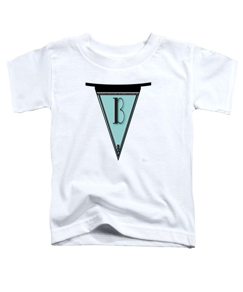 Pennant Deco Blues Banner Initial Letter B Toddler T-Shirt by Cecely Bloom