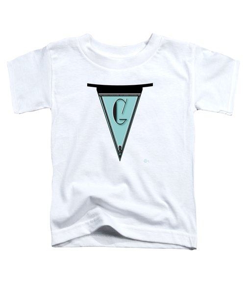 Pennant Deco Blues Banner Initial Letter G Toddler T-Shirt by Cecely Bloom