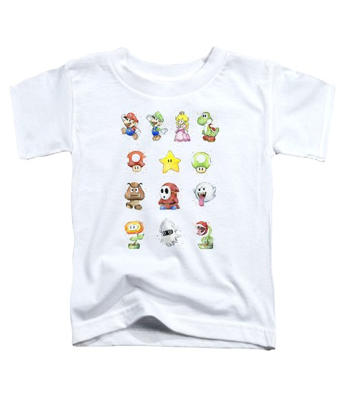 Mario Characters In Watercolor Toddler T-Shirt by Olga Shvartsur