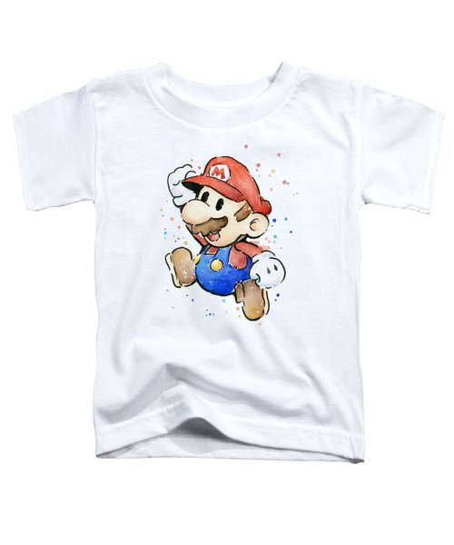 Mario Watercolor Fan Art Toddler T-Shirt by Olga Shvartsur
