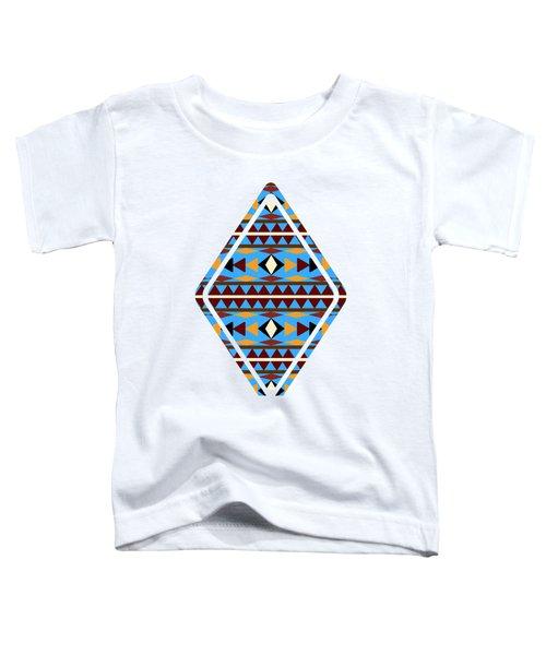 Navajo Blue Pattern Art Toddler T-Shirt by Christina Rollo